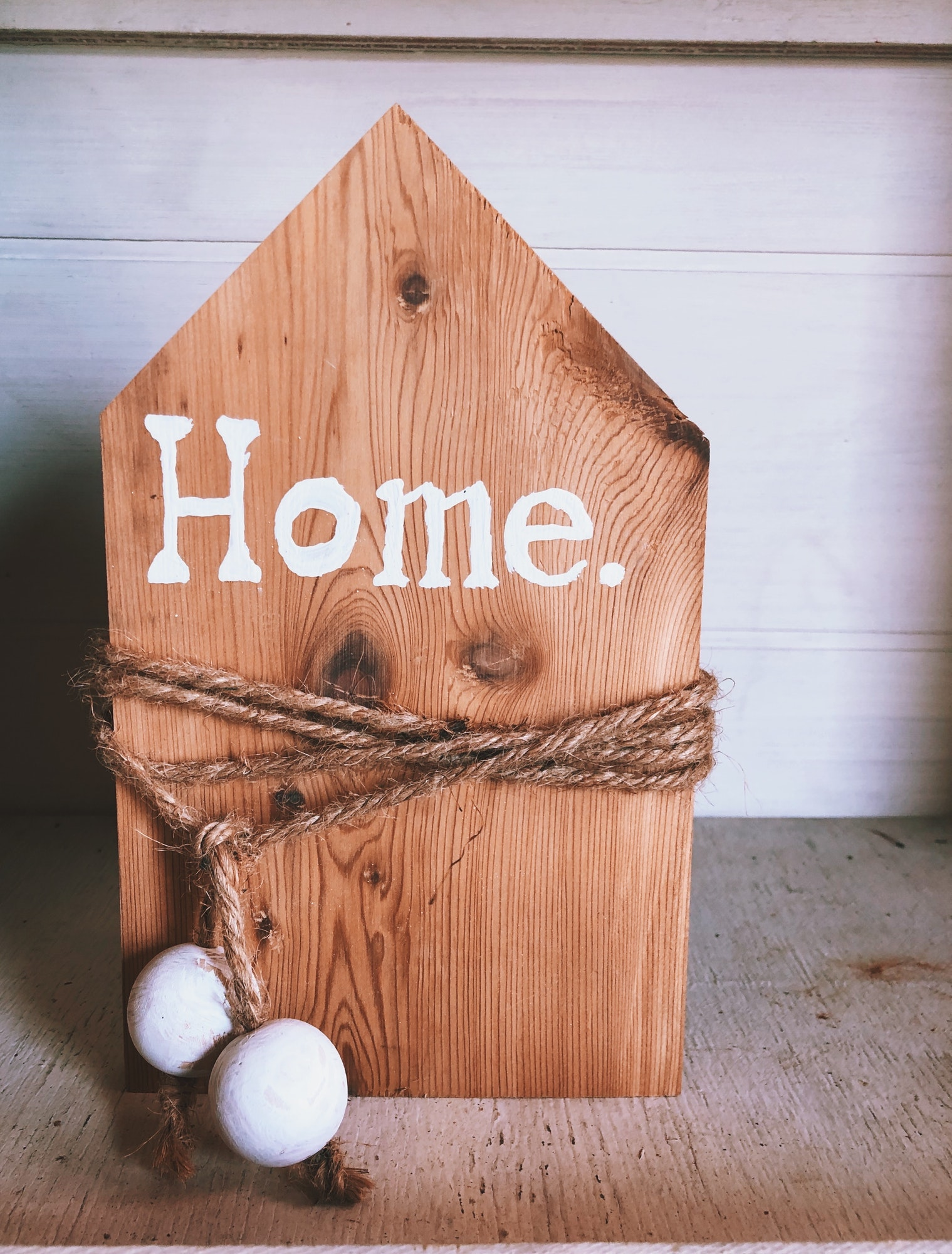 Handmade wooden home decor with a word Home